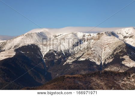 Winter landscape in Parang Mountains at Ranca, Transalpina