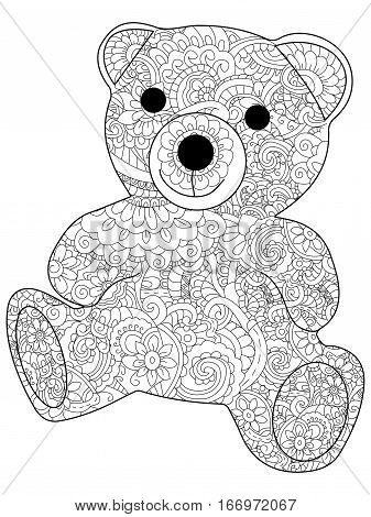 Plush toy bear coloring book for adults vector illustration. Anti-stress coloring for adult. Zentangle style. Black and white lines listen. Lace pattern