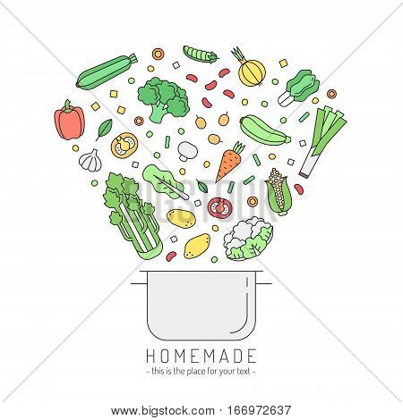 Pan and vegetables outline homemade cooking illustration. Clean and simple design.