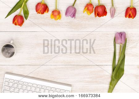 Lilac and red tulips and coffee in the white wooden table. Banner template layout mockup for Woman Day, Valentines Day and Teacher's Day. Photo for posts, blogs, advertising and news.