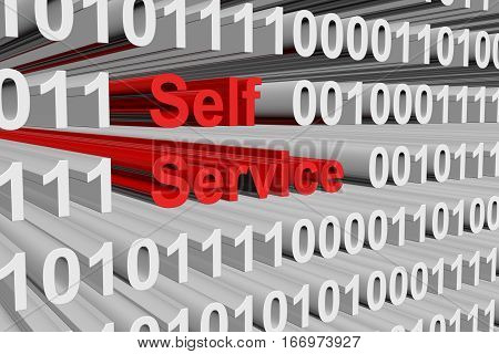 self service in the form of binary code, 3D illustration