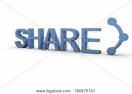 SHARE text on white background 3D illustration