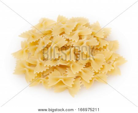 Farfalle pasta isolated on white background with clipping path