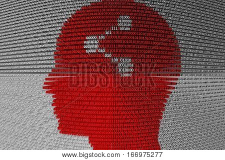 SHARE in the form of binary code, 3D illustration