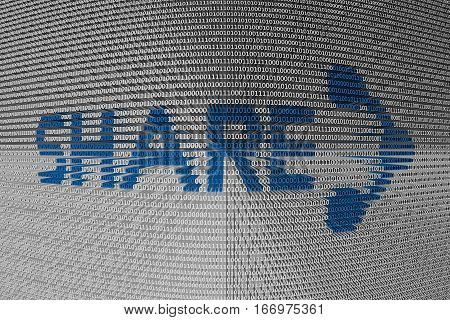 Share is presented in the form of binary code 3d illustration