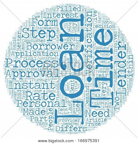Instant approval of personal loans whether justified or not text background wordcloud concept