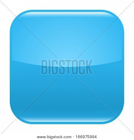 Blue glossy button blank icon square empty shape isolated form background. Vector illustration a graphic element for web internet design