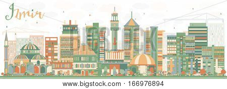 Abstract Izmir Skyline with Color Buildings. Business Travel and Tourism Concept with Historic Architecture. Image for Presentation Banner Placard and Web Site.