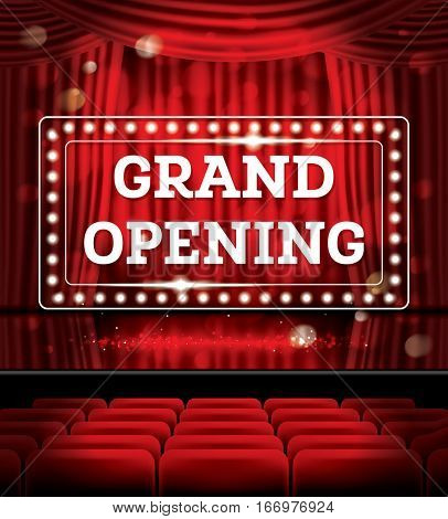 Grand Opening. Open Red Curtains with Neon Lights. Theater, Opera or Cinema Scene.