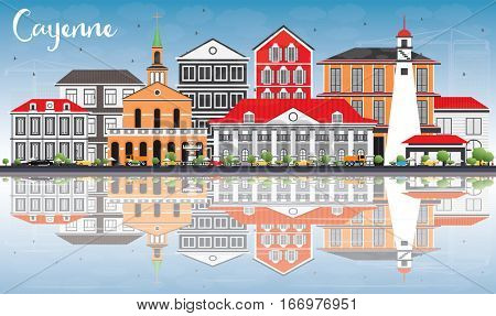 Cayenne Skyline with Color Buildings, Blue Sky and Reflections. Business Travel and Tourism Concept with Modern Architecture. Image for Presentation Banner Placard and Web Site.