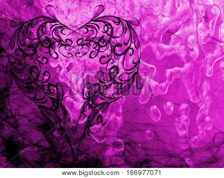 Violet Heart Lovely Grunge Background, Abstract Romantic Textured Backdrop