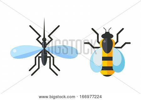 Insect fly and bee icon flat isolated on white background. Nature flying butterfly beetle vector ant. Wildlife spider grasshopper or mosquito dragonfly animal illustration.
