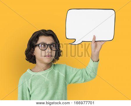 Little Boy Holding Chatbox Neutral Mood