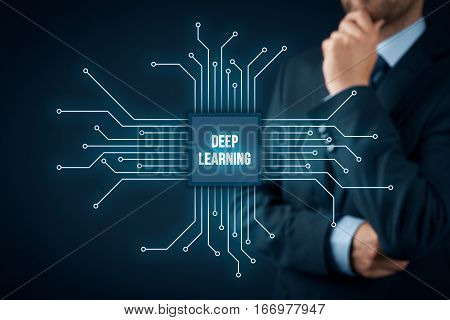Deep structured learning, hierarchical learning or deep machine learning concept - learning methods based on learning representations of data. Businessman or programmer with abstract symbol of a chip with text deep learning connected with data represen