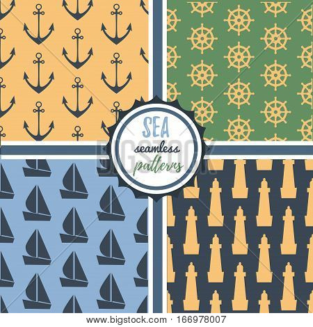 Four sea nautical journey travel anchor lighthouse seamless patterns vector set