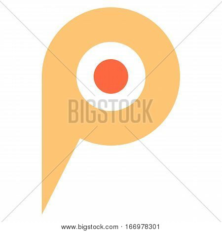 Quick and easy recolorable circle shape isolated from background. Flat map pin sign location icon web internet cartography button. Vector illustration a graphic element for design.