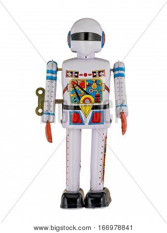 White Robot Spaceman isolated on white background
