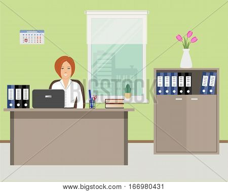 Web banner of an office worker. The young woman sitting at the desk on the window background. There is beige furniture, a cabinet with folders and a vase with tulips in the picture.