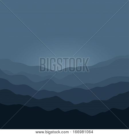 Mountain Landscape ,the Silhouette of the Mountains Before Sunrise, View of the Mountains in the Morning ,Mountain Ranges in Shades of Dark, Gray Misty Mountains, Waves