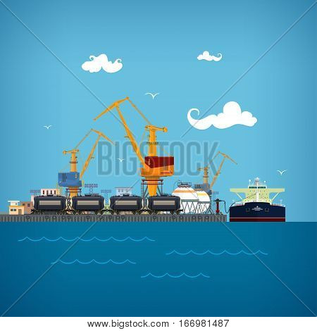 Cargo Sea Port,Unloading of Oil from the Tanker, Loading of Liquids or Oil or Liquefied, Petroleum ,Gas,Sea Freight Transportation, Logistics, Port Warehouses and Cranes, the Train with Tank Cars