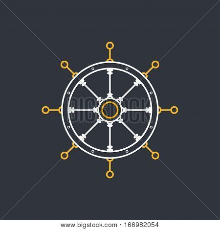 Ship's Wheel, Marine Emblem with Boat's Wheel, Line Style ,Design Logo Element