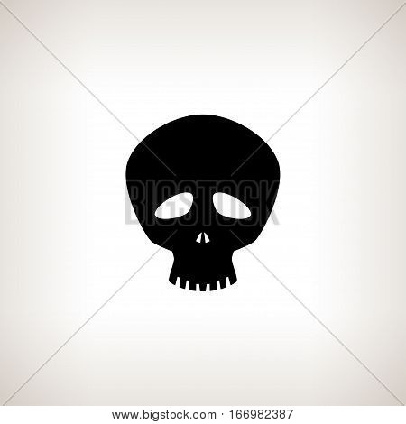 Funny Skull ,Silhouette Skull on a Light Background Isolated ,Death's-head ,Black and White Illustration