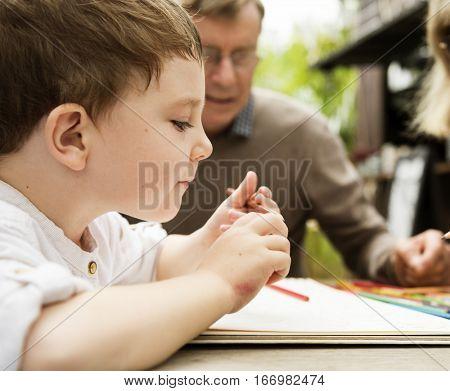 Grandma Grandpa Boy Togetherness Concept