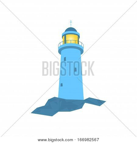Lighthouse ,Beacon Isolated on White, Lighthouse Stands on Rocks