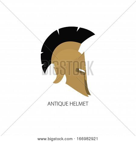 Antiques Roman or Greek Helmet Isolated on White, Helmet with a Crest of Feathers or Horsehair with Slits for the Eyes and Mouth, Logo Design Element