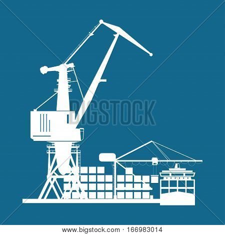 Cargo Seaport Isolated on Blue, Unloading Containers from a Cargo Ship in a Docks with Cargo Crane, Silhouette Container Ship at the Dock ,International Freight Transportation