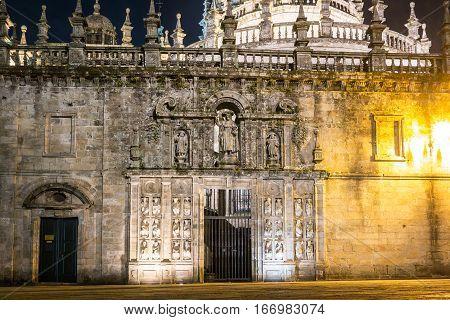 View of the Puerta Santa (Saint Door) in the Santiago de Compostela Cathedral