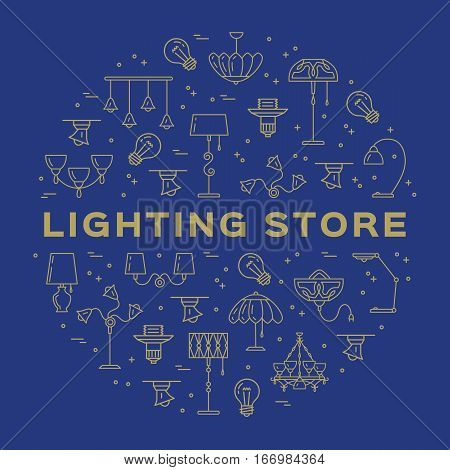 Lighting store circle infographics Lamp icon flat design banner. Thin line symbols chandelier, lampshade, decorative lightings, wall lamp. Brand identity graphics, Vector isolated icons