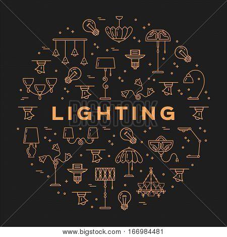 Lighting store circle infographics Lamp icon flat design card. Thin line symbols chandelier, lampshade, decorative lightings, wall lamp. Brand identity graphics, Vector illustration