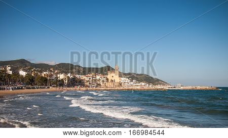 Sunny day in the village of Sitges, Spain
