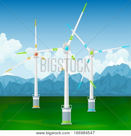 Wind Turbines on the Ground ,Horizontal Axis Wind ,Turbines on a Background of Mountains, Modern Low-Wind Turbine