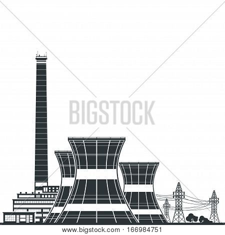 Silhouette Nuclear Power Plant ,Thermal Power Station , Nuclear Reactor and Power Lines,Black and White Illustration