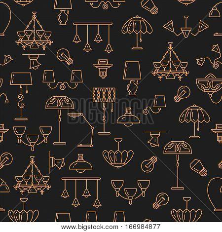 Lamp icon, lighting seamless pattern. Brand identity graphics, business concept for lighting store. Chandelier, lampshade, lightbulb. Golden symbols dark background Art Deco, Vector illustration
