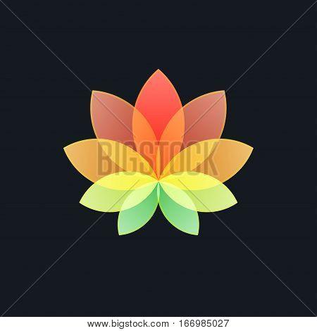 Multicolored Translucent Flower on Black Background ,Logo Design Element