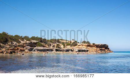 The Cala Saona beach blue waters, Formentera