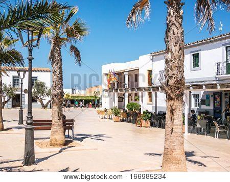 Formentera Spain - May 27 2015 - San Francesc Xavier city Hall in Formentera