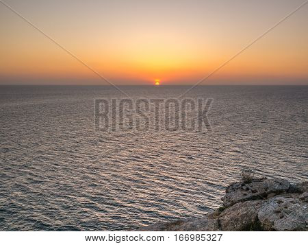Sunset seen from the Formentera island, Spain