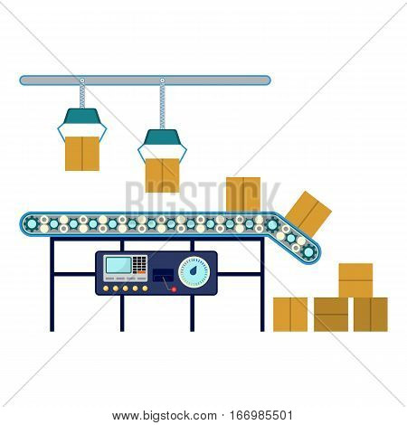 Process of box packaging. Industrial equipment for packaging boxes, machinery line assembly conveyor for carton boxes distribution. Technology used in warehouse industry vector illustration