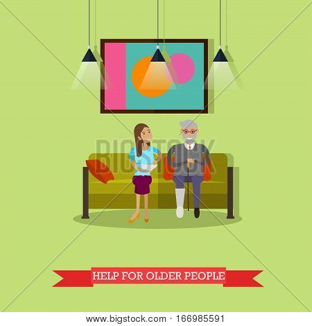 Vector illustration of volunteer young woman helping older man with food. Voluntary organizations services concept design element in flat style.