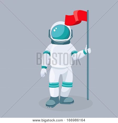 Spaceman with red waving flag isolated vector. Astronaut in space suit which provide mobility and functionality to investigate universe. Explorer cosmic outfit garment for exploration of spacewalks