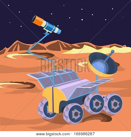 Space ship investigate planet in space. Explore of barren moon on a rover. Expendable spacecraft on moon surface making researchers of craters and stars realistic vector. Can be boarded by astronauts