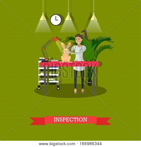 Vector illustration of vet woman inspecting little bunny. Vet clinic services, medical inspection concept design element in flat style.