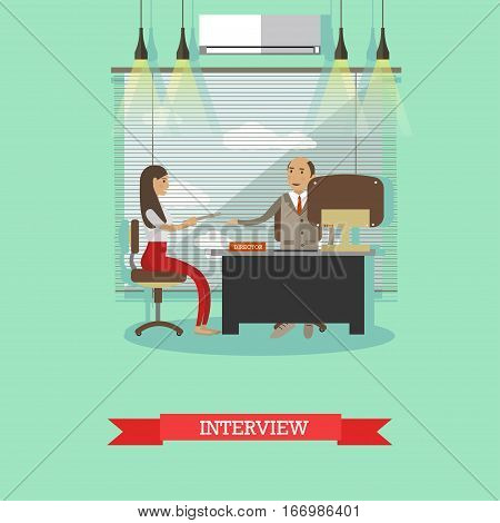 Job interview concept vector illustration in flat style. Manager, director holding interview with young woman candidate.