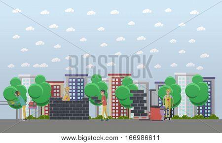 Vector illustration of bricklayer, loader, welder working at building site. Residential construction, masonry concept vector illustration in flat style.