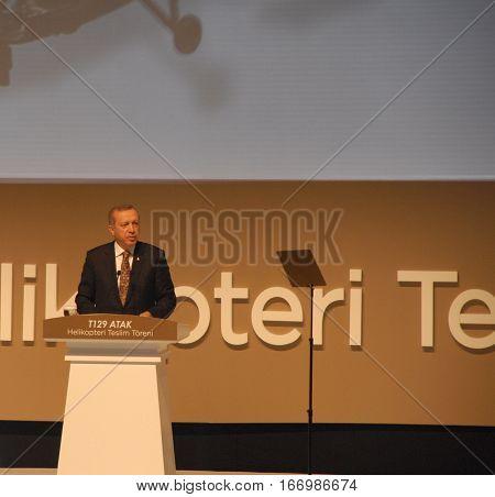 ANKARA, TURKEY - JUNE 10 2014 : Turkish Prime Minister Recep Tayyip Erdogan at the aircraft hangar of Turkish Land Forces Aviation Command