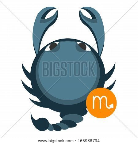 Scorpius or scorpio astrology sign isolated on white. Horoscope symbol represented as scorpion. Zodiac constellations astrological mythology icon vector design illustration in cartoon style
